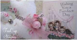 SACHET & CARD~Chic Pink Roses~Rhinestone Collar~Gift Idea~467