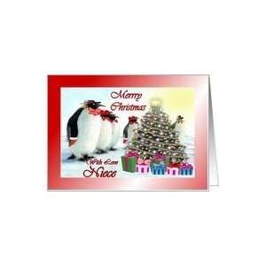 Christmas ~ Niece ~ Whimsical Penguins / Christmas Tree / Gifts Card