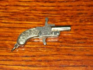 ANTIQUE AUSTRIAN PINFIRE MINIATURE PISTOL CHROME FINISH TOY CAP GUN