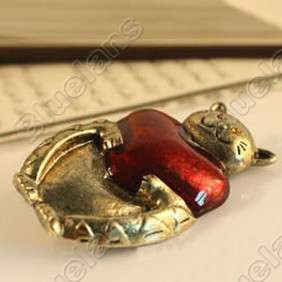 Retro Vintage Lovely Lucky Cat Hearts Cute Brooch Pin 5155