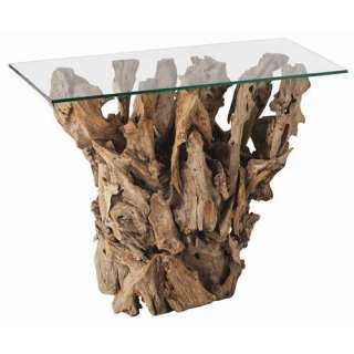 Driftwood/Glass Art Deco Console Table