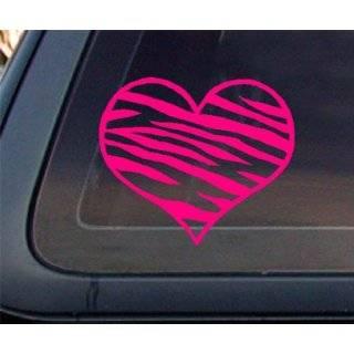 Zebra Print Heart HOT PINK Car Decal / Sticker by World Design