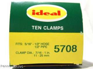 Ideal 5708 Hose Clamps Stainless Worm Gear Clamp 10 NIB