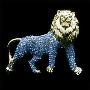 Wild Animal King Lion Brooch Pin Blue Swarovski Crystal