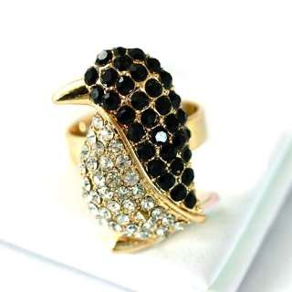 r6077 Black Lovely Penguin Gemstone Gold plate Diamante Adjustable