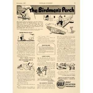 1937 Ad Gulf Aviation Products Oil Cartoons Plane