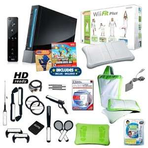 Nintendo Wii Black Super Mario Ultimate Holiday Bundle with Wii Fit
