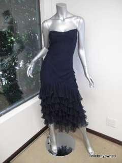 Ralph Lauren Navy Spaghetti Strap Full Length Ruffle Bottom Dress 2