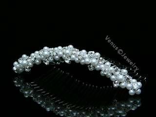 Bridal Rhinestone Crystal Pearl Wedding Tiara Comb 7573