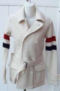 womens small merino wool coat cream peacoat $798 nwt gorgeous