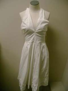 Michael Kors White Halter Dress w/Embroider Hem 12 NWT