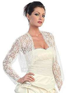 Ivory Lace Bolero Jacket Long Sleeve Wedding/Bridal,Prom, *Large