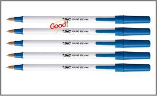 ballpoint pens 1 0 mm medium point white barrel blue ink pack of 5
