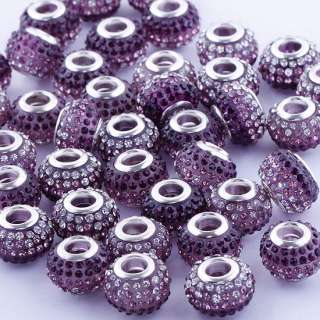 10X Colorful Purple&White Crystal Big Hole Resin Beads Fit European