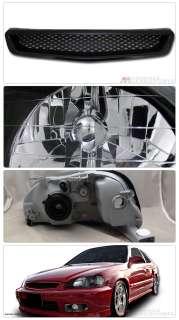 99 00 Honda Civic 2D/3D/4D JDM Blk Housing Crystal Headlights w/Amber