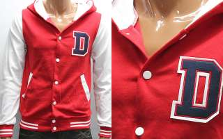 Mens Red White D Button Baseball Hoody Jacket M / D Patch Hoodies