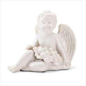 White PORCELAIN Angel/ CHERUB w/ Grapes STATUE/Figurine