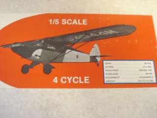 SUPER CRUISER 1/5TH SCALE R/C MODEL AIRPLANE KIT **85 inch**