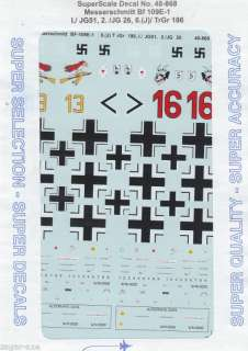 48 SuperScale Decals Messerschmitt Bf 109E 1 48 868 |
