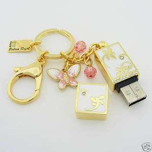 USB 8GB Flash Memory Drive Key Chain DRAGONFLY Gold Swarovski Crystal