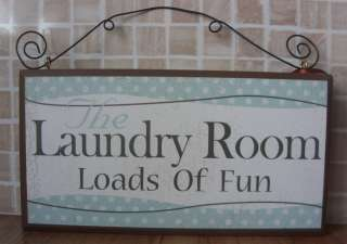 Shabby Rustic Wooden Chic Distressed Plaque Laundry Room Loads of Fun