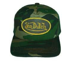 Von Dutch Camo Mesh Trucker Cap, Adjustable Clothing