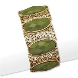 Brass tone Olive Faceted Acrylic Stretch Bracelet Jewelry