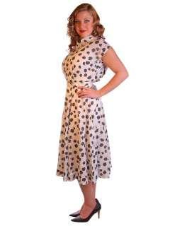 Nylon Day Dress Black Rose Print 1950S 38 28 Free Easy Care