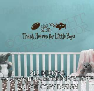 THANK HEAVEN FOR LITTLE BOYS Quote Vinyl Wall Decal NURSERY Lettering