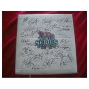 2008 Phillies Team Signed World Series Baseball Base