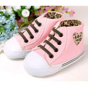 new baby girl pink leopard tennis shoes 3M 6M 9M