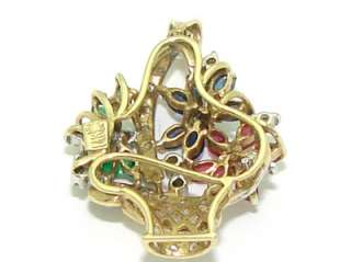 Estate 14kt Gold 1ct Emerald Ruby Sapphire Diamond Flower Basket Charm