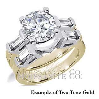 9mm Round Baguette Moissanite Engagement Ring Set