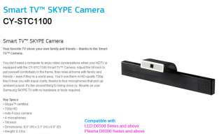 SAMSUNG Smart TV Web Camera Skype Camera CY STC1100 ★