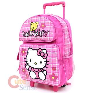 Kitty Large School Roler Bag Rolling Backpack Pink Teddy Bear 2