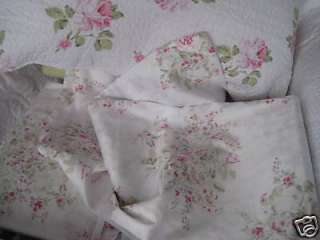 SHABBY ROMANTIC COTTAGE LIVING CHIC WHITE PINK ROSE BLOSSOM SHEET SET