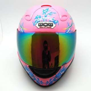 NEW Motorcycle Adult Full Face Helmet Blue Dragon Pink Size S M L XL