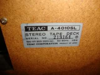 Vintage Teac A 4010SL Reel to Reel Stereo Tape Deck   AS IS