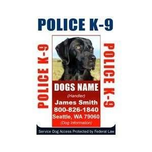 POLICE K9 ID Badge   1 Dogs Custom ID Badge   Design#5  Vertical