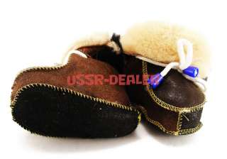 WOOL BABY SHEEPSKIN SLIPPERS BOOTS 100% PURE 5 US NEW