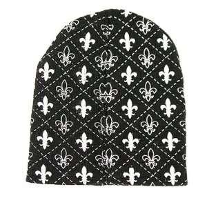 Black Fleur De Lis Logo Knit Beanie Hat Ski Cap