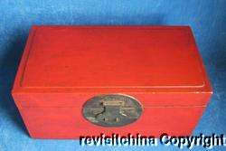 Vintage Wooden Furniture Wedding Red Jewelry Box Trunk