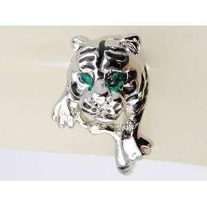 Silver Tone Blue Green Eyes Crystal Rhinestone Sized Ring Jewelry