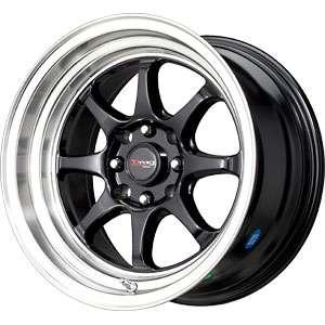 New 15X8.25 4 100/4 114.3 Drag DR 54 Gloss Black Machined Lip Wheels