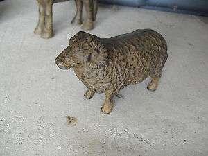 Unique Vintage Heavy Cast Iron Sheep Ram Figurine 3 1/4 Tall