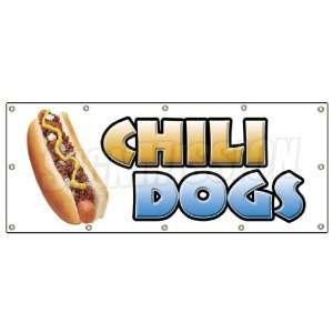 48x120 CHILI DOGS BANNER SIGN hot dog cart stand signs franks dogs