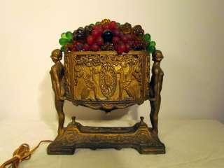 Antique CZECH Fruit Basket Art Glass Lamp, 1920s ART DECO