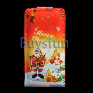 Christmas Style FLIP VERTICAL LEATHER CASE COVER For APPLE IPHONE 4 4G