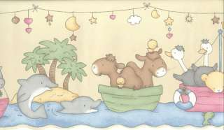 NOAHS ARK ANIMALS IN BOAT WALLPAPER BORDER LW79164N