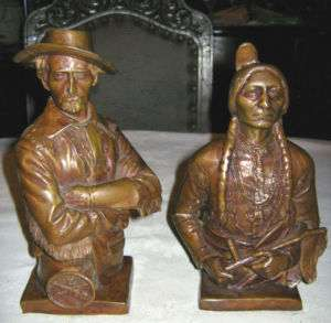 BRONZE ART SCULPTURE MUSEUM BOOKENDS INDIAN WAR ARMY CUSTER LG STATUE